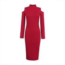 Young17 осеннее платье Для женщин 2018 работа бордовый серый черный трикотажные Bodycon полые до середины икры плотная Сексуальное Платье облегающее платье