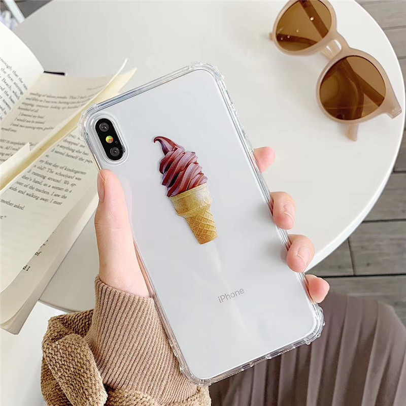 Cute cone ice cream phone case For iphone XS MAX case For iphone XR X 6 6s 7 8plus ultra thin soft TPU art painted back shell in Fitted Cases from Cellphones Telecommunications
