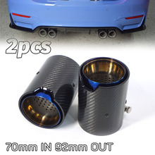 2pcs Real Carbon Fiber Glossy Exhaust Tip Grilled Blue Style Mufflers For BMW M2 F87 M3 F80 M4 F82 F83 M5 F10 M6 F12 F13 X5M X6M for bmw m2 carbon gear base cover m2 f87 e92 m3 f80 m4 f82 f10 m5 m6 f85 x5m f86 x6m gear surround cover for right hand drive