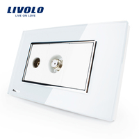 Free Shipping Livolo White Plastic Materials 36mm 23mm US AU Standard Function Key For Satellite TV