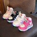 Criança luminosa luzes led sapato up incandescência chaussure fille menina tênis bebê calçado criança olá kitty primavera shoes