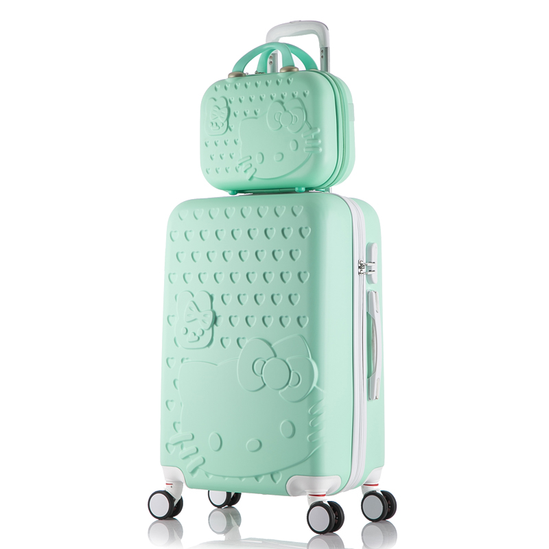 deaabae30 Hello Kitty Luggage bag,Children Women Suitcase set,ABS Cartoon Travel  Box,Rolling Trolley Hardcase bag ,20