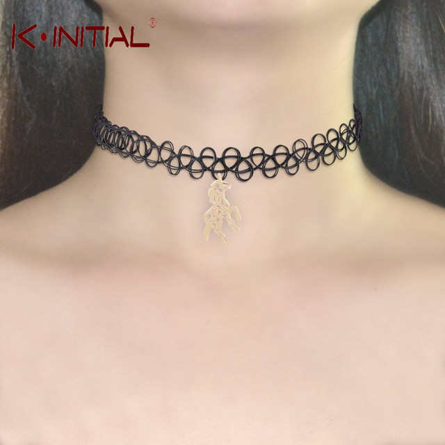 3d65c6a20b8c Kinitial 10 unids chokers moda ante negro hueco falso collar chockers  Collares para las mujeres unicornio
