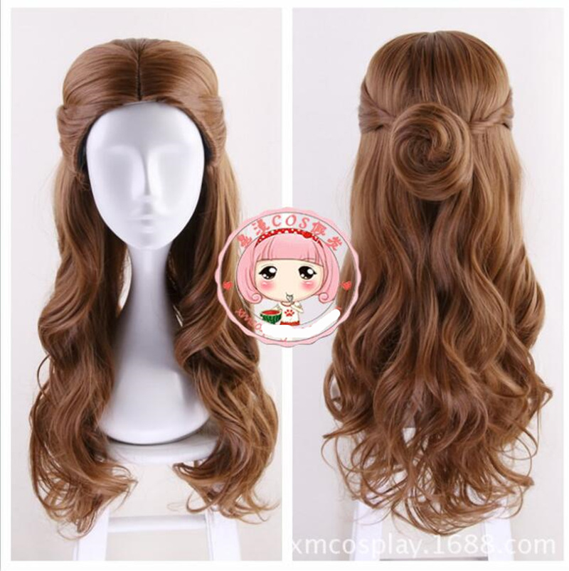 Beauty and the Beast Princess Belle Brow wavy Wig with bun Emma Waston Long Hair Cosplay /Role Play Costume