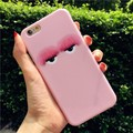 Korean cute Fur eyes luxury brand new soft pink for iphone 6 6s 6plus 7 7Plus hipster style gel back cover free shipping