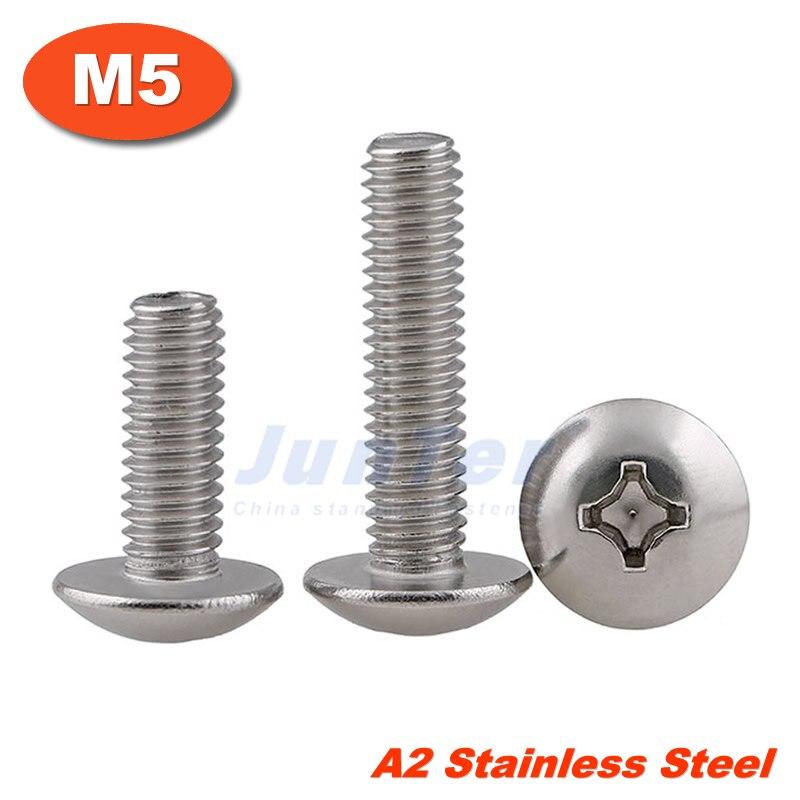 M5 x 25mm  Stainless Steel Phillips Pan Head Machine Screws Cross Recessed A2
