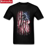 흰색 짧은 소매 사용자 정의 우주 비행사 플래그 티 셔츠 클래식 남성 큰 사이즈 구매 t 셔츠