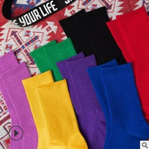 Image 2 - 14 PCS = 7 คู่ถุงเท้าผู้หญิงฤดูใบไม้ร่วงและฤดูหนาวใหม่ผ้าฝ้ายสีสุภาพสตรีสีทึบถุงเท้าผู้หญิง