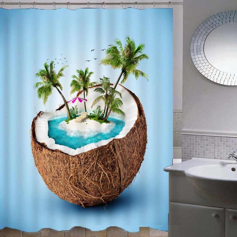 Coconut Eco-Friendly Shower Curtain 150CMX180CM Creative Animal Bathroom Curtain Waterproof Shower Curtain drop shipping AP16G