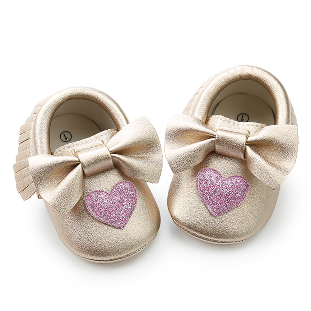 new 2018 Baby Girl shoes Sequins Bowknot Love Shape Fashion Toddler First Walkers Kid Shoes