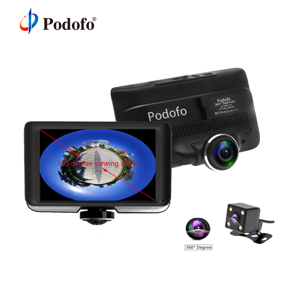 Podofo Voiture DVR 360 Degrés Panoramique DashCam Double Lentille avec Vue Arrière Caméra Full HD Video Recorder Night Vision DVR