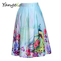 2016 Summer Vintage Chinese Style Peacock Feathers Floral Print Pleated High Waist Midi Skater Stain Skirts Saias