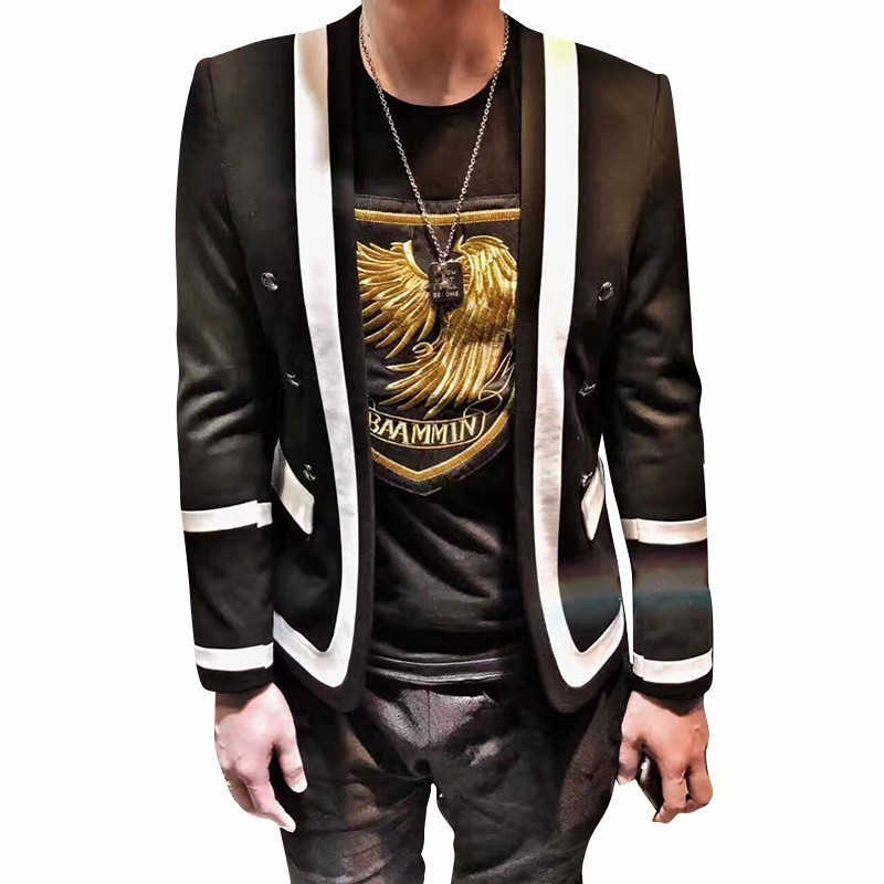 Tide Hairstyle Division Men Blazer Leisure Time Self-cultivatio Autumn Men Suit Coat Male Trend Single Western Hip-hop Jacket