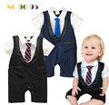 2017 new Baby Boys romper Gentleman necktie Design  False 2 pcs Infant Climb Clothes Kids Summer Clothing  Free drop Shipping