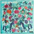 Mai Tong Cashmere De Seda 130 cm * 130 cm Espessamento Nova Flor Animal Cavalo Senhora Praça do Xaile do Lenço