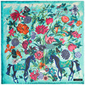 Mai Tong Silk Cashmere 130cm*130cm Thickening New Flower Horse Animal Lady Square Scarf Shawl