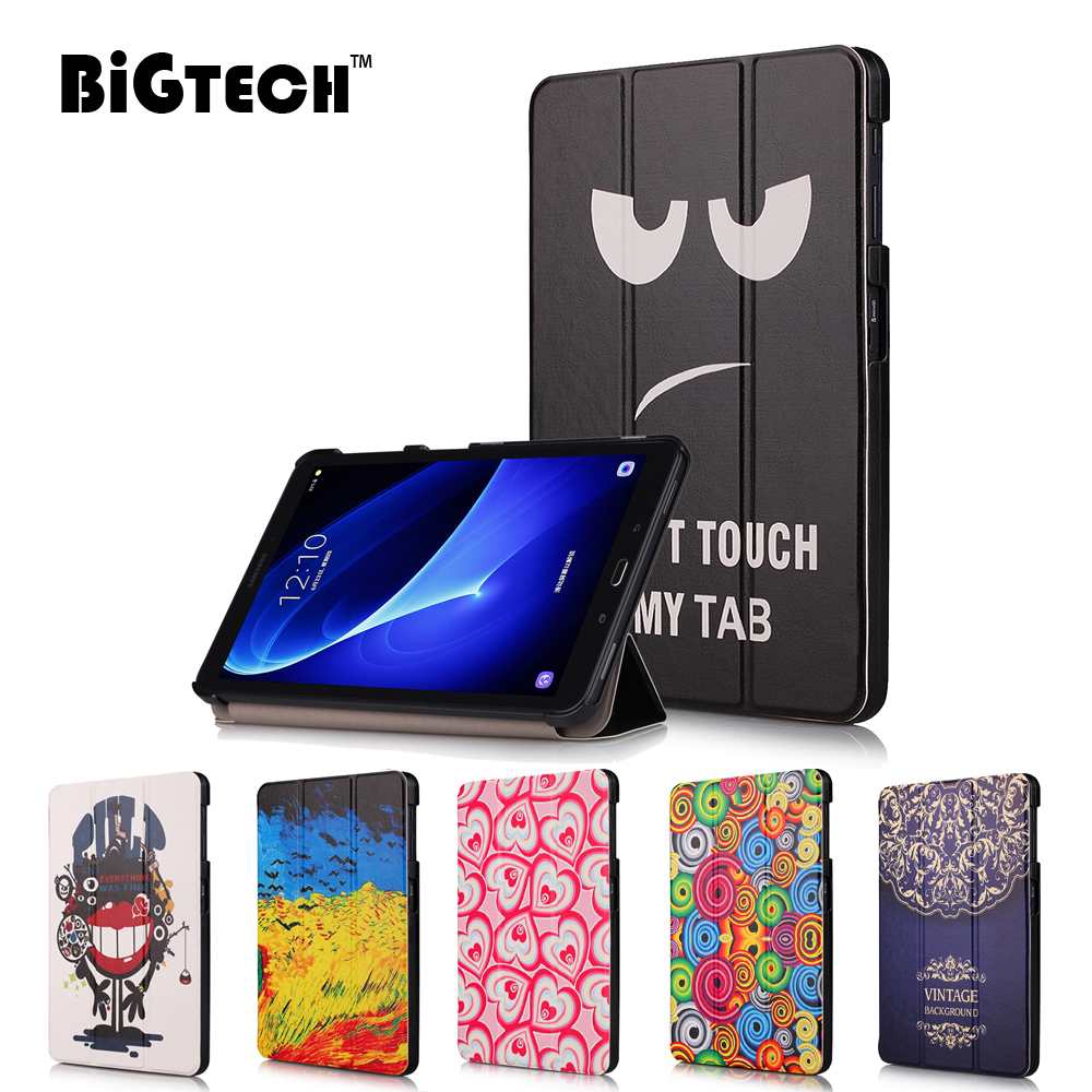 Folding Flip Case For Samsung Galaxy Tab A 10.1 2016 T580 <font><b>T585</b></font> Tablet Cover Magnetic PU Leather Case for Samsung SM-T580T585 image