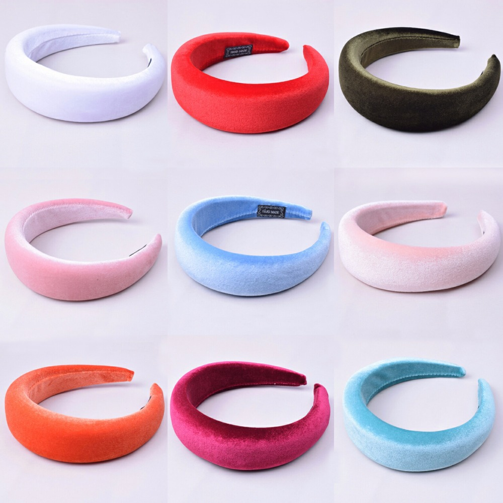 Thick Velvet Headband Hair Bands For Women Hair Accessories Plastic Padded Hairbands Retro   Headwear   Comfortable Head Hoop 4CM