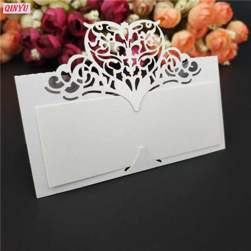 50Pcs Laser Cut Place Cards Wedding Name Cards Guest Wedding Party Table Decoration Name Place Card  Wedding Decoration 7Z