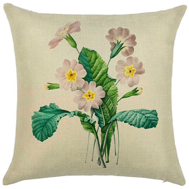 Morden Simple flowers plants Cotton Linen home decorative cushion cover Geometric Beige Printed pillow case Square pillowcase in Cushion Cover from Home Garden