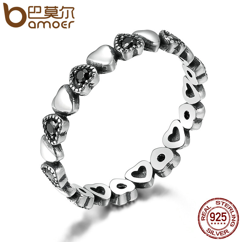 BAMOER Genuine Sterling Silver Stackable Ring Heart Black CZ Finger Rings for