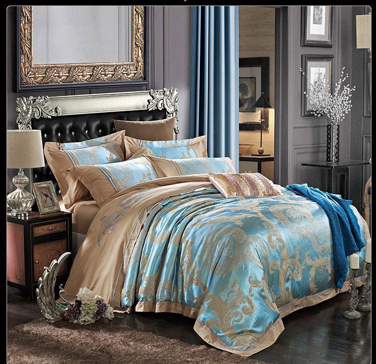 Greenbluegold Satin Bedding Set Home Textile 4pcs Jacquard Silk