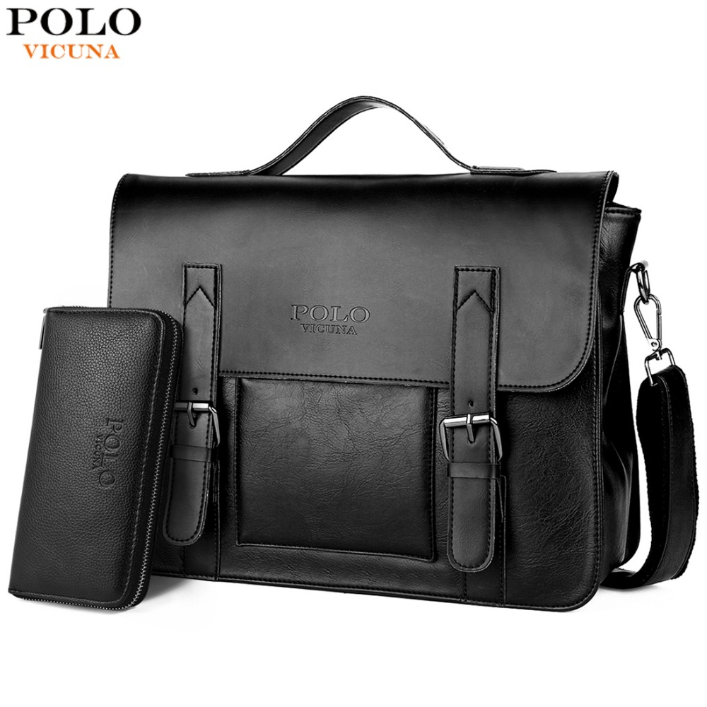 44f359e28 VICUNA POLO Business Men Bag Double Belt Decor Brand OL Leather Men  Briefcase Bag lawyer Doucument