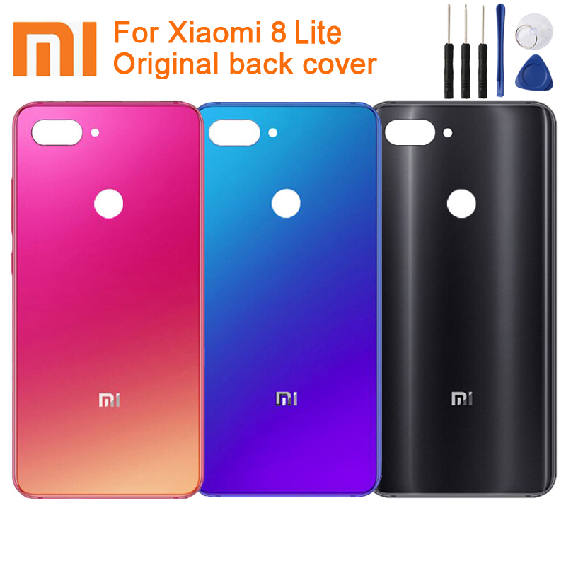 Xiaomi Back-Cover Phone-Case Battery Glass Mi8-Lite Original Protective for Rear-Housing