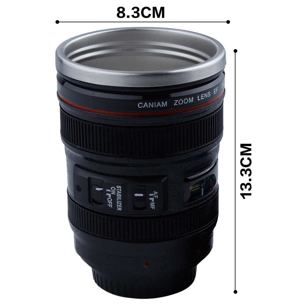 400 Ml Creative Camera Lens Mok Plastic Koffie Thee Cup Met Deksel Thermocup Thermomug Roestvrijstalen Voering Thermosflessen Cadeaus