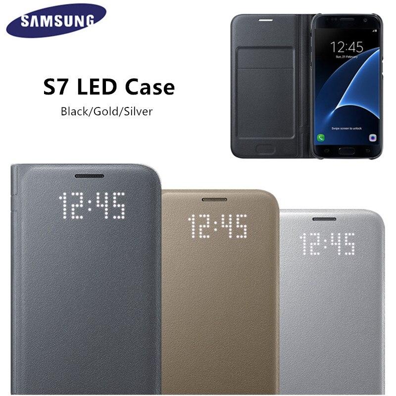 Цена за Оригинальный СВЕТОДИОДНЫЙ Посмотреть Смарт Обложка Телефон Case EF-NG930 для Samsung Galaxy S7/S7 Edge С Функцией Сна