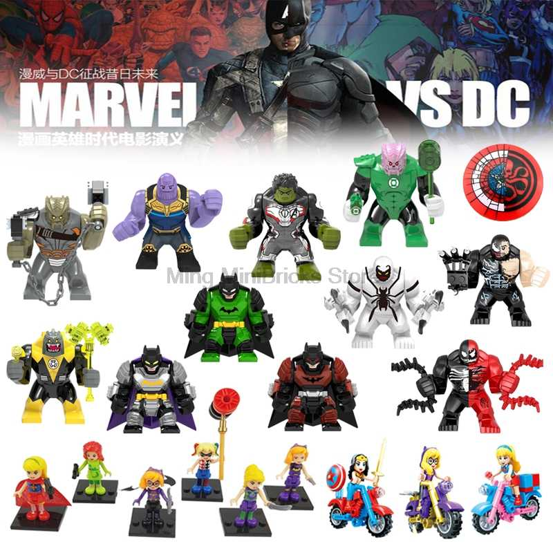Legoing Marvel Superhero Iron Man Batman Venom Thanos Quinn Superman Figures DIY Blocks Kids Toys baby gifts Compatible Legoings