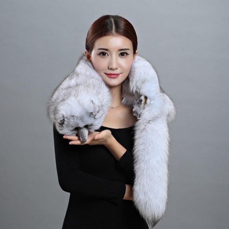 Écharpe renard écharpe fourrure de renard étole Wrap col hiver moelleux naturel blanc hiver châle étole écharpes