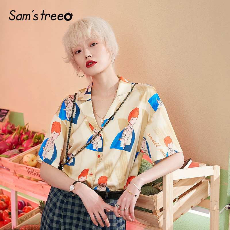 Samstree Summer Blouses for Women Short Sleeve Character Print Satin Blouse for Work Loose Plus Size