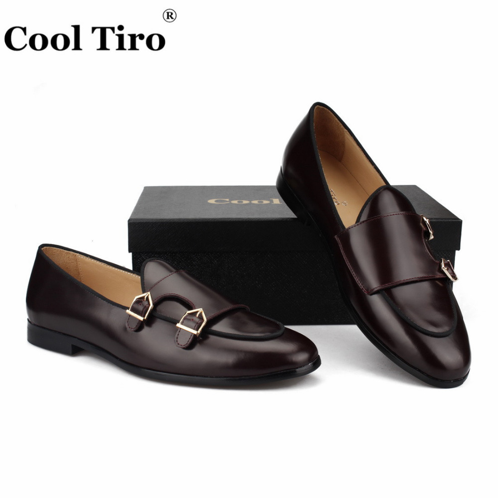 POLISHED LEATHER DOUBLE-MONK LOAFERS Brown (6)