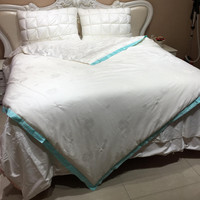 100% шелк полного заполнения кашне/одеяло для лета король, королева twin Размер постельное белье ручной работы белого цвета Бесплатная доставк