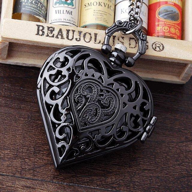 Black Full Steel Hollow Heart-shaped Pocket Watch Necklace Pendant Chain Women H