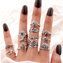 12 Pcs/set Bohemian Retro Elephant Cat Leaf Compass Women Silver Ring Set Creative Animal Ring Jewelry Accessories(China)