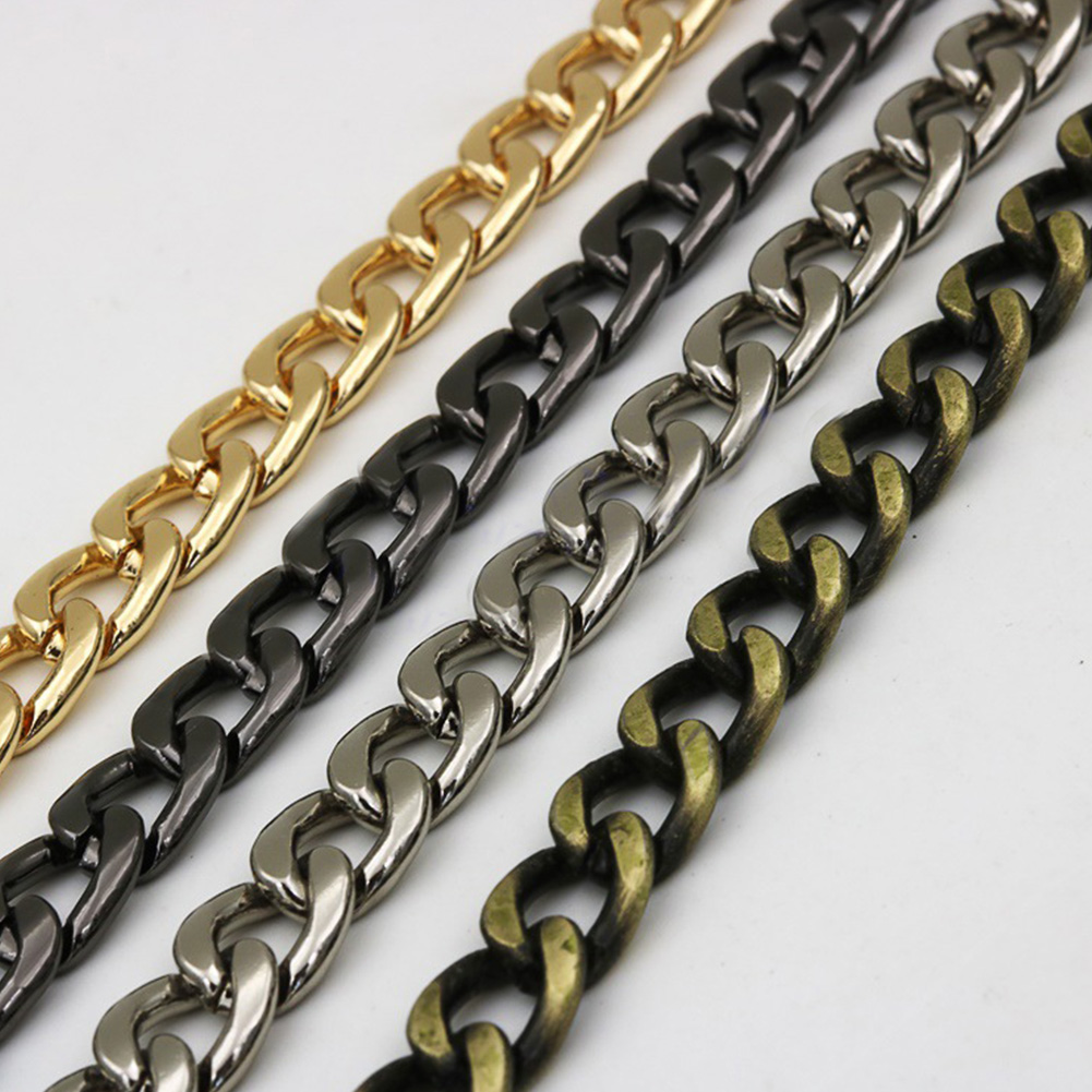 100/110/120cm Aluminum Metal Chain DIY Replacement Shoulder Bag Strap Chain High Quality Gold Black D Buckle For Bag Accessories