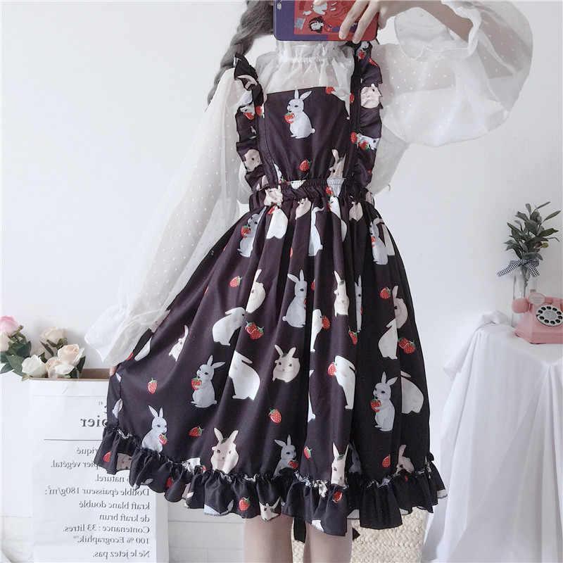 Летние студенческие небольшой свежий милый ремень платье женский милый корейский Harajuku ткань для женщин платья Японии Kawaii Ulzzang