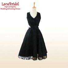 Sexy Schwarz Eine Linie V-ausschnitt Perlen Spitze Cocktailkleider 2016 Knielangen Partei Prom Kleider Sommerkleid Mädchen robe de cocktail TC43
