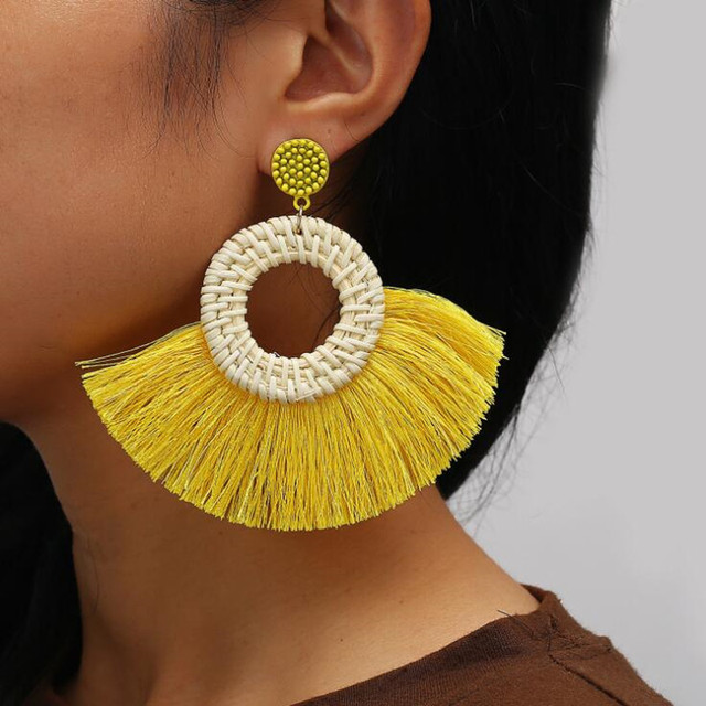 DIEZI Bohemian Gilrs Gift Cotton Long Tassel Earrings Geometric Drop Earrings For Women Statement Dangle Earring Trendy Jewelry