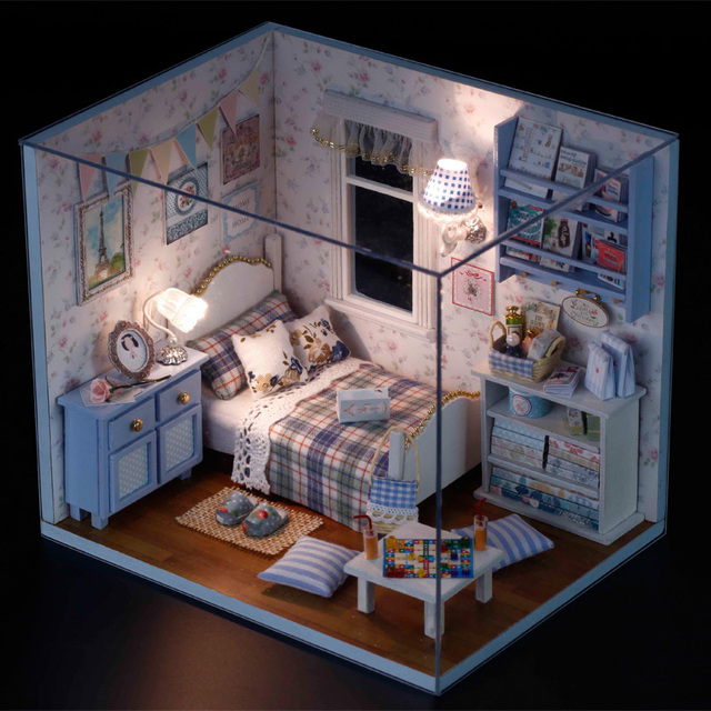 3D DIY Handmade Dolls House Toys Princess Room With Furniture Doll Family 2  LED Sunshine Overflowing