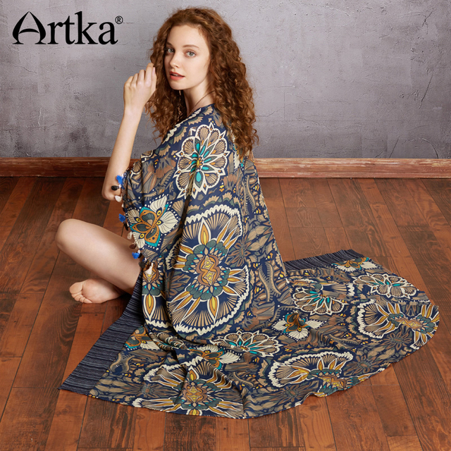 989be16d15 ARTKA 2018 Summer New Women s Loose Tassel Retro Print Half Sleeve Long  Shirt Loose Chiffon Cardigan