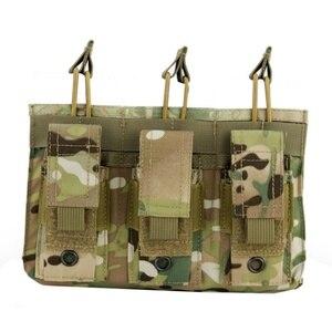 Image 2 - Новая 1000D нейлоновая Военная Пейнтбольная Экипировка, тактическая три открытых топа сумка для журнала, быстрая AK M4 Famas сумка для хранения