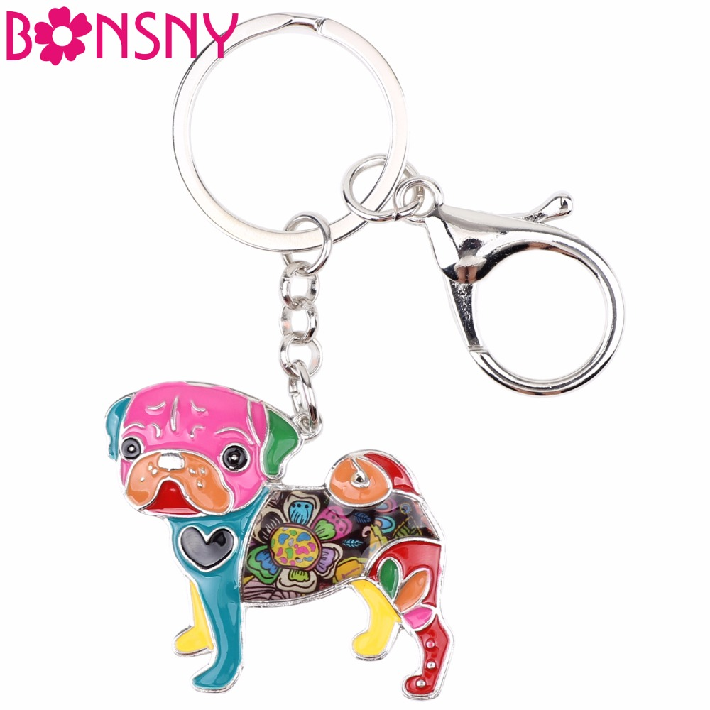 Bonsny Enamel Pug Dog Bulldog Key Chains Keychains Rings Novelty Animal Jewelry For Women Girls Pet Lovers Gifts Bag Car Pendant