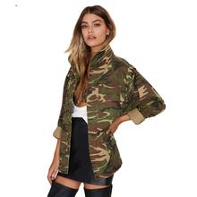 Fashion Military Women Jacket 2016 Spring Zipper Button Outwear Coats Female Vintage Camouflage Army Green Jackets Blouses