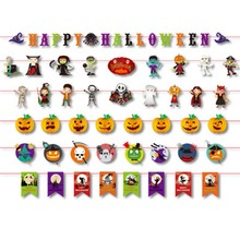 Halloween Decoration Prop Foil Balloons, Spider Web, Pumpkin, Bunting Banners, Paper Garland for Halloween Party