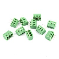 10pcs 300V 10A 3 81mm Pitch 3 Pole PCB Screw Terminal Block Connector Male Green