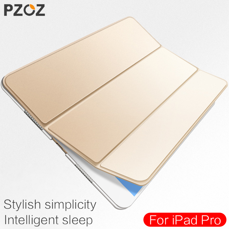 PZOZ Luxury leather Case For ipad pro 10.5 inch Stand Cover smart Auto Sleep Wake Up Flip Ultra Slim Folding Folio Holder case for ipad pro case 12 9 9 7 auto sleep wake up magnetic smart stand flip leather hand hold tablet cover