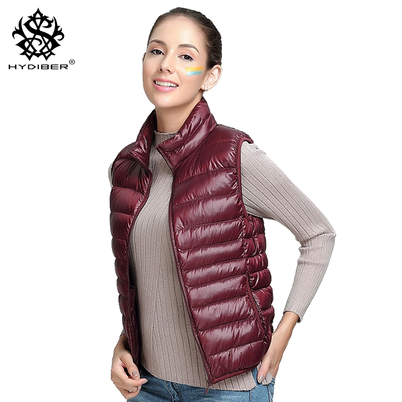 hydiber 2017 New Winter Gray Duck Down Padded Women Vest Ladies Wine Red Sleeveless Short Coat